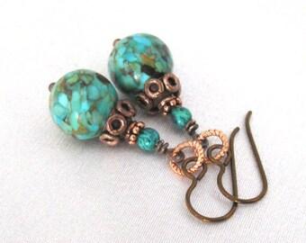 Mosaic Turquoise and Chrysocolla Earrings, Hypoallergenic Niobium Hooks. Boho Style