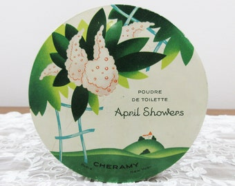 Vintage Cheramy April Showers Dusting Powder Lithographed Tin - Earlier 1900's