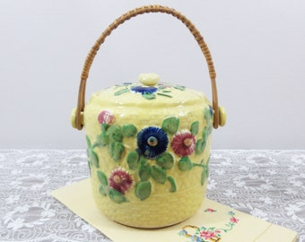 Majolica Biscuit Jar with Lid and Handle - Yellow Basket With Hollyhock Blossoms - Red Blue Green Yellow - Japan