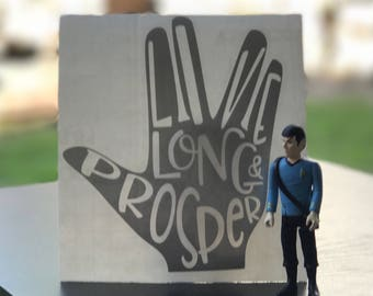 "Spock Vulcan Star Trek Inspired ""Live Long and Prosper"" Car, Laptop, or Decor Vinyl Decal"