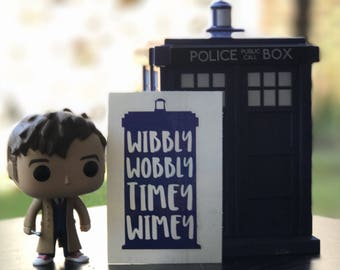 Doctor Who Inspired Wibbly Wobbly Timey Wimey Tardis Car, Laptop, or Decor Vinyl Decal