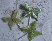 Green Butterfly Hairpins Set of Three