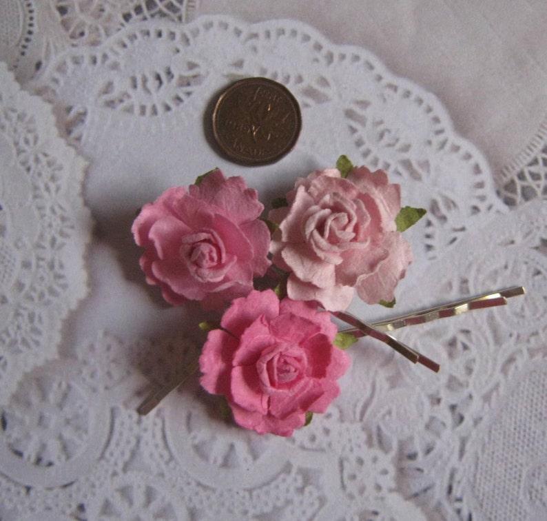 Pink Flower Hair Pins