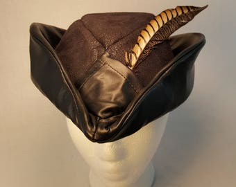 Robin Hood Inspired Hat Custom made to order Costume Cosplay faux Suede  faux leather pheasant feathers Black 1a2fdcbe223