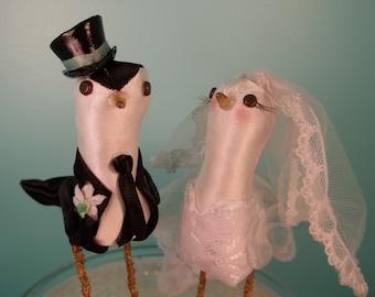 Wedding Cake Topper Custom made to order FerdiBirds miniature love birds