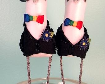 Wedding Cake Topper Same sex Custom made to order Ferdi Birds miniature love birds