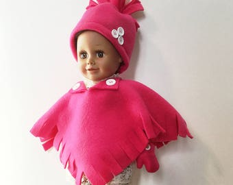 """Fleece Poncho Set of Poncho, Hat, Booties, Mittens for 18 Inch Dolls. Bright Pink Fleece. Button Trim and Fringe on Poncho. 18"""" Doll Clothes"""