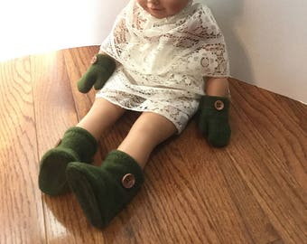 """Fleece Hat Booties & Mittens Set for 18 Inch Dolls. Girl or Boy Doll. Army Green Fleece with Button Trims. 18"""" Boy Doll Clothes Mitts Boots"""