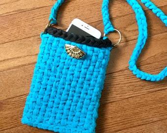 Cell Phone Purse - Mobile Phone Pouch - Shoulder Bag - Handbag - Mini Hip Pouch - Fashion Bag - Unlined - Bright Blue - Summer - Small Purse