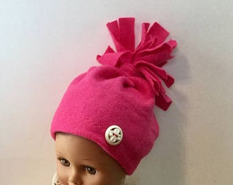 """Fleece Hat and Booties for 18 Inch Dolls. Bright Pink Fleece with White Buttons Trim. 18"""" Doll Clothes. Fleece Doll Boots. Fleece Doll Hat."""