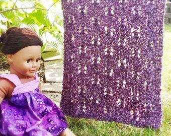 "pdf Mhyllot Knitting Pattern for 18 inch Doll Blanket -- PATTERN -- Doll Size Small Tiny 18"" Dolls Throw Afghan Knit DIY"