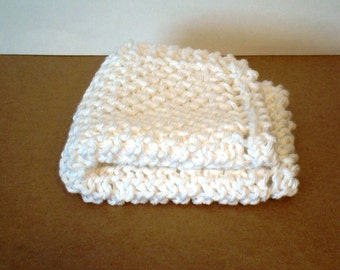 Hand Knit Dishcloth SNOWY WHITE FaceCloth Washcloth 100 per cent Cotton Yarn Spring Cleaning Cheery Handknit Clean White Neutral Kitchen