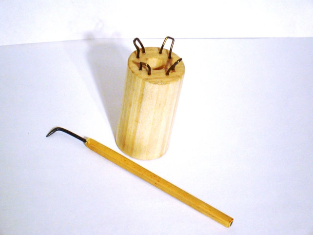 Knitting Spool and Loom Hook Set. Peg Knitter & Hook. Wooden | Etsy