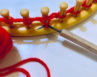 Large Loom Hook. 9 mm (.35 inch) Corking or Knitting Nancy Hook. Bamboo Handle. Loom Knitting Hook. Sock Loom Hook. (M)