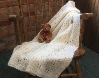 """Instant Download pdf Baby Blanket Knitting Pattern for """"Mhyllot Baby Blanket"""" - PATTERN - Pram Cover Cot Eyelet Butterfly Knit Baby Blanket"""