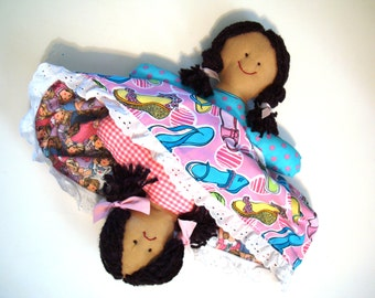Topsy Turvy Handcrafted Doll OOAK Happy Face Sad Face Cloth Doll Flip Flop Rag Doll Reversible Ragdoll Turnabout Doll Upside Down Indigenous