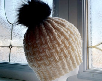 Hand Knit Hat With Faux Fur Pom Cream Winter Hat Black With Grey Tips Pompom Toque Beanie Knitted Hat Gift Ready To Ship Removable Pompom