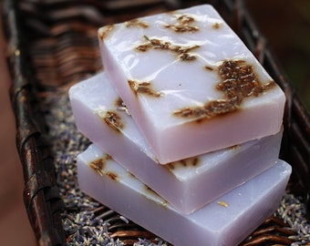 Handmade Olive Oil, Aloe, and Shea Butter Soap - Lavender Soap with Lavender Buds // Gifts for Her
