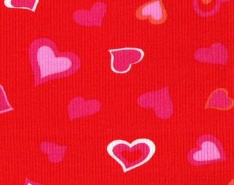 RED HoT HEARTs 2x1 RIBBING, 100 percent Cotton, Fat Eighth, 9 x 25 inches