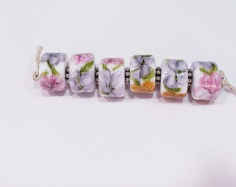 Watercolor Abstract Floral lampwork bead set