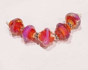Pink Silver Glass Bicone Beads