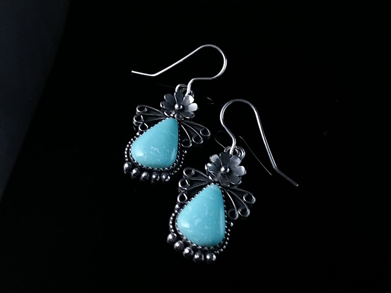 Navajo Made Sonoran Turquoise New 2019 Sterling Silver Campitos Turquoise Floral Earrings