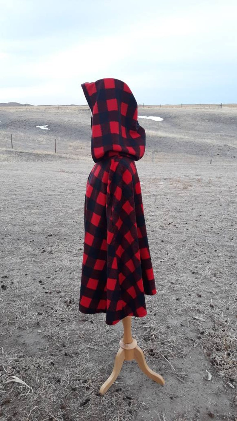 Red Buffalo Plaid Fleece Hooded Cloak Everyday Cape Adult Clothing