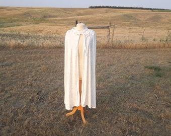 Ivory Wedding Cloak Velvet Cape Renaissance Clothing Bridal Cape Halloween Costume