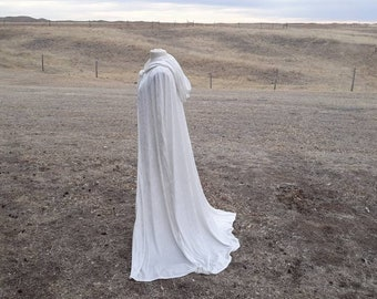White Wedding Cloak Velvet Hooded Cape Renaissance Clothing Bridal Cape Halloween Costume