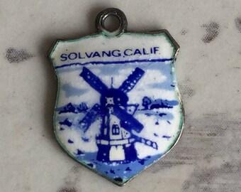 Vintage Sterling Silver Charm Holland Delft SolVang California - Souvenir Porcelain