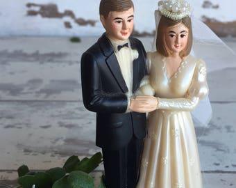 Vintage Cake Topper -  Bride and Groom 1970s