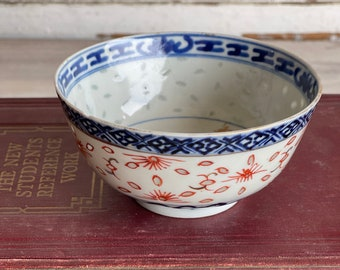 Vintage Canton Rice Pattern Bowl Blue and White Red Gold Porcelain Old Hand painted
