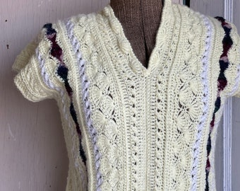 Vintage Hand Made Striped Sweater Vest Top - Crochet Yellow Purple Golf Shirt