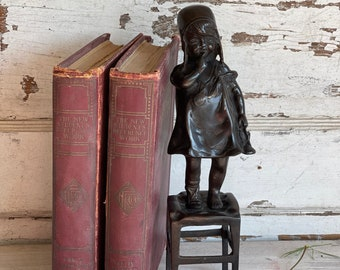 """Vintage Statue """"A Girl"""" on a stool - Juan Clara Bronze Reproduction 11.25 inches - Heavy Sculpture"""