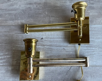 Vintage Brass Wall Lamps - Swing Arm -Pair  Space Saving - 18 Inch Arms - (Lamps only)