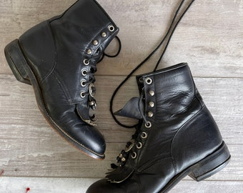 Vintage Justin Boots - Lace Up - Black-Size 3 1/2 D  - Women's Size 6.5 Beaded Concho