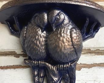 Vintage Burwood Lovebirds Shelf - Blue and Copper