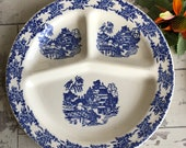 Vintage Blue Willow Ware Grill Plate Made in USA 1950s Large Ceramic Plate