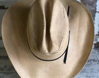 Vintage Bailey U-Rollit Cowboy Hat - Long Oval 7 1 8 - Hard Straw 64249371c10