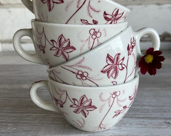 Vintage Cups Mug Restaurant Ware Wellsville China Red and White Floral - Set of 4