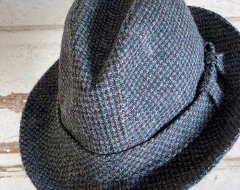 Vintage Hat - Totes Small  Wool Tweed Fedora - Imported Fabric Woven in England