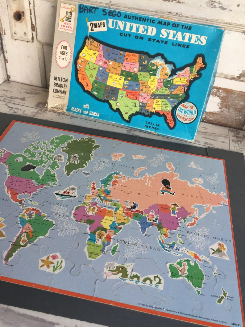 United States and World Map Puzzle by Milton Bradley - 1960s era As IS
