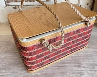 Vintage Wicker Picnic Basket - Burlington Rope Handle Wooden Base - Sturdy