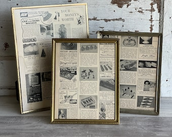 3 Vintage Brass Picture Frames - 8 x 10 and 10 x 13