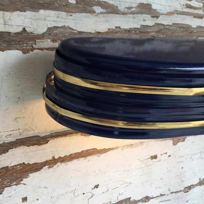 Art Deco Navy Blue and Gold Headboard Lamp Vintage Wall Mounted Sconce