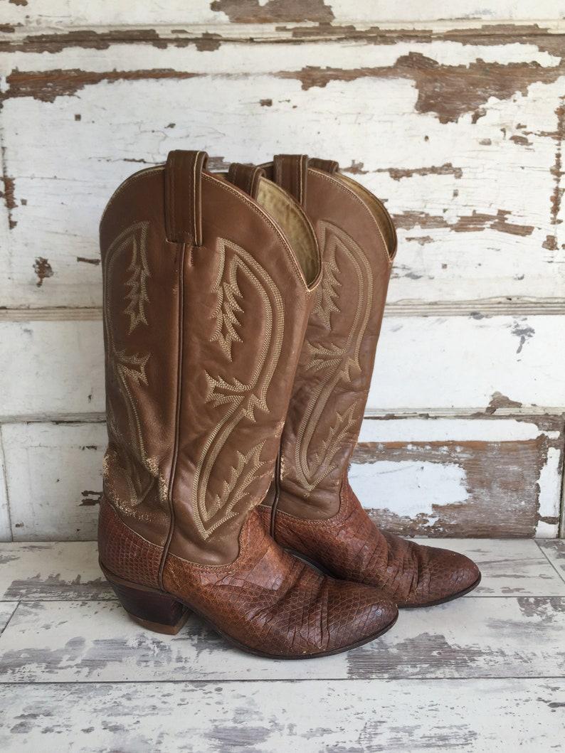 3cdc312cc55 Vintage Tony Lama Reptile Cowboy Boot - Tan Size Mens 5.5 - Women's 7.5
