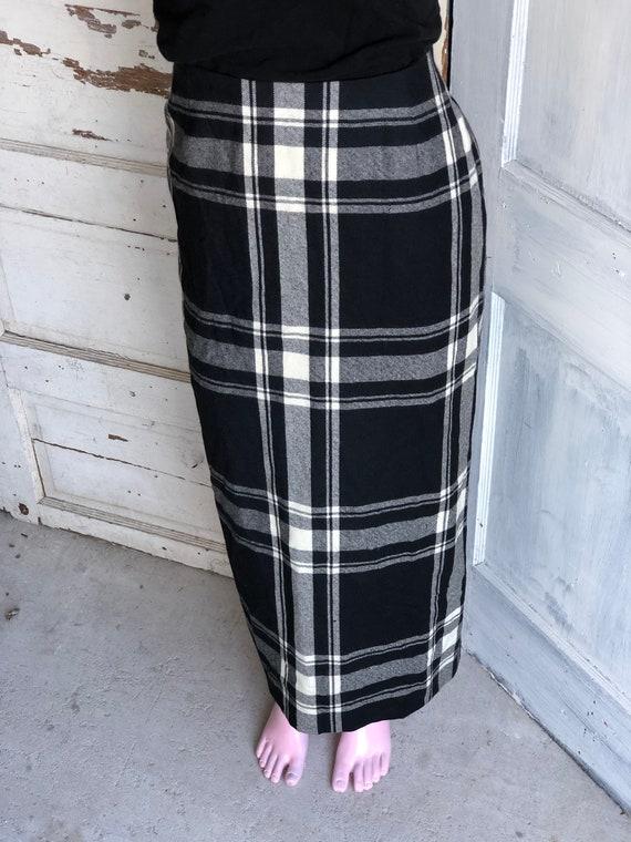 Vintage Skirt Plaid Wool Maxi Length - Size 8 Med… - image 4