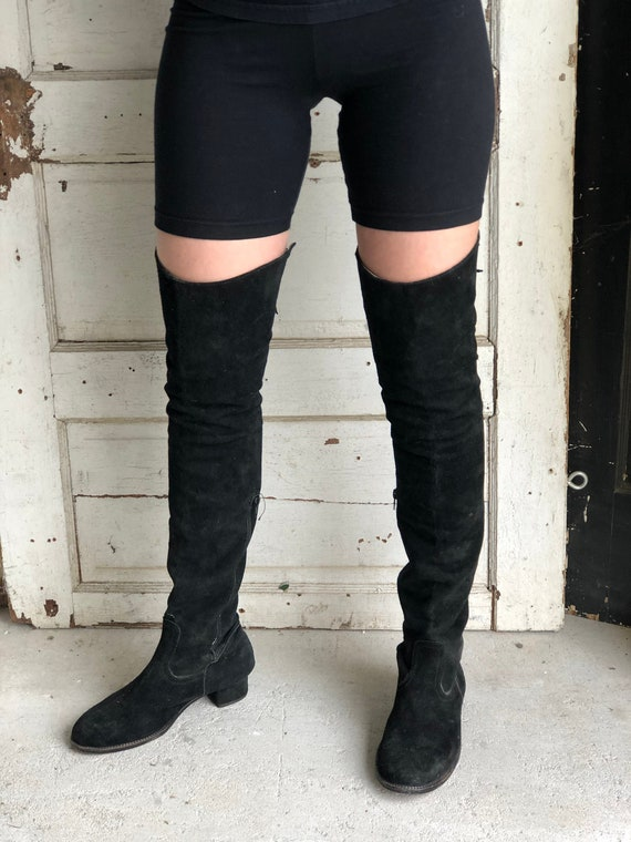 Vintage Over The Knee Suede Boots -Handmade