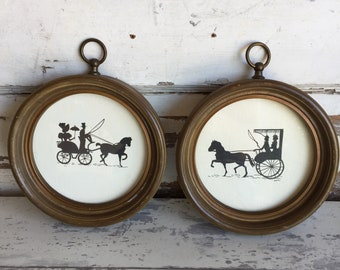 Vintage Silhouette Carriage Buggy - Set of 2 - Round Frame