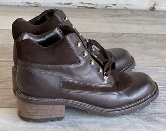 Vintage Jones New York 1990s Booties - Lace Up Hiker - Leather and Suede Brown Size 7.5 NOS